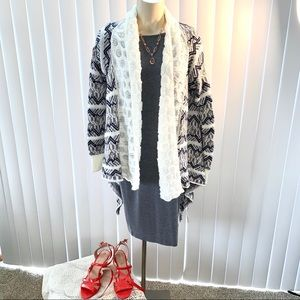 LLove Gray/White Asymmetrical Cardigan Sweater